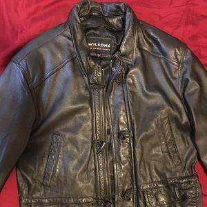 Black men's leather coat
